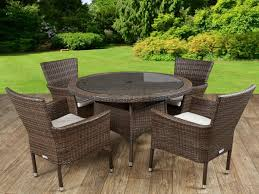 cambridge 4 rattan garden chairs and small round table set in chocolate and cream