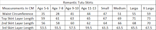 Tutu Measurement Chart Size Guide