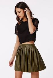 short green pleated leather skirt
