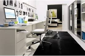 long office desk. Black Carpet For Small Office Ideas With Long White Wooden Desk And Excellent Ergonomic Chair