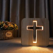 Night Light For Kids Cross Wooden 3d Lamp Creative Wooden Lights Simple Decorative Lights 3d Wood Carving