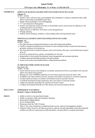 Services Operations Manager Resume Samples Velvet Jobs