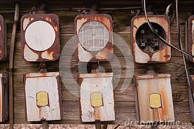 old industrial electric box royalty stock photo image 27674755