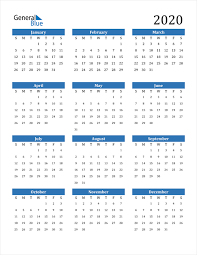 2020 Calendar Pdf Word Excel
