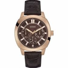 guess accessories hillier jewellers guess men s rose plate brown leather prime watch w0660g1