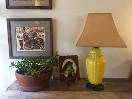 Yellow Glass Asian Inspired Table Lamp Ginger Jar Shaped Chinoiserie