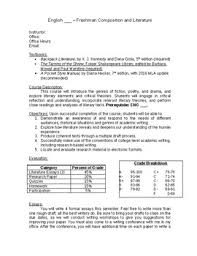 Syllabus Sample Template Freshman Literature Syllabus Template And Sample Course Schedule