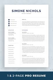 Two Page Cover Letters Professional Resume Template Set With One Page And Two Page Resume