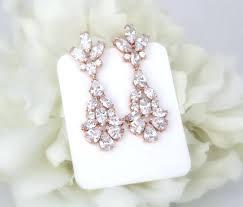 gold bridal earrings chandelier rose gold earrings long bridal earrings wedding jewelry crystal earrings art deco earrings wedding earrings chandelier