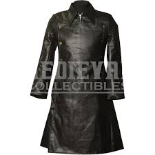 gothic faux leather officer coat