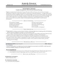 Performance Profile Resumes Investment Advisor Resume Example
