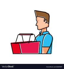 Man Basket Design Pdf Young Man With Basket Shopping