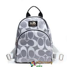 Grey Coach Logo Monogram Small Backpacks