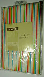 details about home round vinyl tablecloth 60 inch diameter colorful stripes