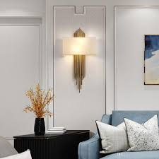 Modern Wall Lights For Living Room 2019 Modern Creative Design Gold Led Wall Light Luxury Fabric Cover For Sconce Hanging Living Room Bedroom Lights Wall Lamp From Haleylighting