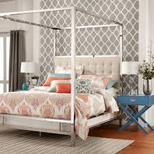 HomeHills Adora White Glam Chrome Canopy Bed