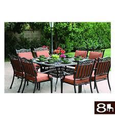 outdoor furniture set lowes. Darlee Charleston 9-Piece Antique Bronze Aluminum Patio Dining Set With Spicy Chili Cushions Outdoor Furniture Lowes E