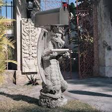 dragon garden statue. zippy, the dragon sculptural mail post garden statue t