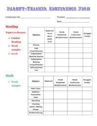 Parent-Teacher Conference Form- 3Rd Grade- Freebie! By Chantal Gunn