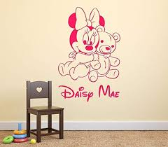 baby minnie mouse teddy bear personalised name wall art mural decal sticker on personalised baby wall art uk with baby minnie mouse teddy bear personalised name wall art mural