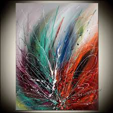 large wall art abstract painting on canvas red modern art for