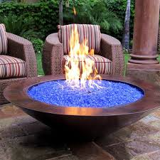 48 es natural gas fire pit auto ignition copper with blue fire glass