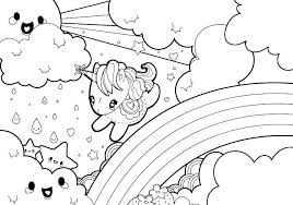 Unicorn Coloring Pages Online Free Cute Cartoon For Kid Rainbow And