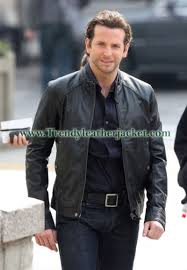 bradley cooper limitless black real leather jacket