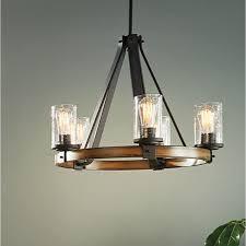 wood chandelier lighting. Shop Kichler Lighting Barrington 3-Light Distressed Black And Wood Chandelier At Lowes.com T