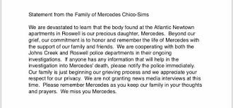 JUST IN: Family of Mercedes Chico-Sims... - Mike Petchenik-WSB-TV | Facebook