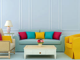 colorful living room. The Color Palette In This Living Room Includes Shades Of Yellow, Turquoise,  Red And Light Blue. Complementary Colors Traditional Furniture Style Colorful