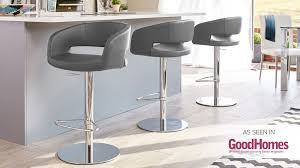 contemporary putty grey gas lift bar stools