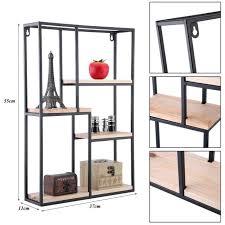 rectangle black metal wood art deco retro wall shelf unit shelving display new
