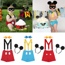 4pcs Baby Boys Mickey Mouse First Birthday Cake Smash Outfit Kid