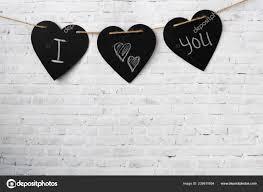 How To Hang Rope Lights On Brick Greeting Card Valentine Three Hearts Hang Rope Brick Light