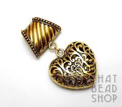 antique gold open cut heart scarf pendant