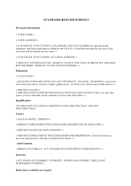 Std Resume Format Standard Format Standard Resume Format Resume Templates Resume 6