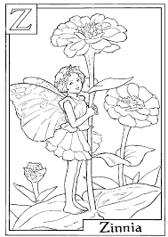 Small Picture Letter Z For Zinnia Flower Fairy Coloring Page Alphabet Coloring