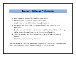 teaching resume skills