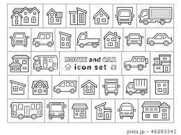 車と家のアイコンセット手書風線画のみのイラスト素材 46893341 Pixta