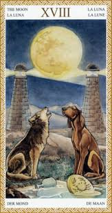 The symbolism of the moon card on the iconic moon card of the major arcana, a dog and a wolf stand in a grassy field, howling at a brilliant full moon. The Moon Tarot Elements