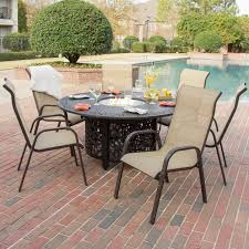 chairs madison fireplace and patio bay 7 piece sling dining set with fire pit table by