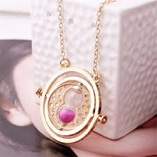 time turner rotating hourglass pendant necklace golden edge pink
