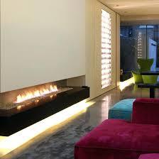 led lights fireplace over contour strip floating inside