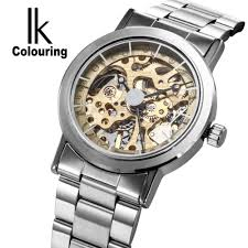 compare prices on self winding watches men hollow online shopping ik colouring brand mechanical hand wind watch nail scale hollow back cover luminous hardlex full steel