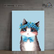 Tranh sơn dầu số hóa tranh tô màu - MS DV0194C Tranh động vật Con mèo đội  hoa tranh thú cưng dễ thương