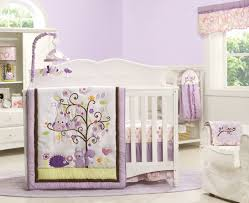 beautiful girl baby nursery room decoration with owl baby bedding cute purple girl baby nursery