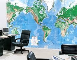 office world map. World Map Wallpaper 8-Sheets Office R
