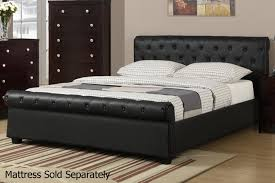 black leather queen size bed steal a sofa furniture los in inches feet uk dimensions