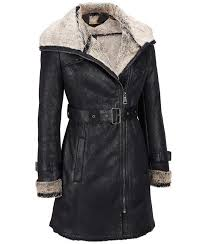 womens casual black leather faux shearling leather trench jacket